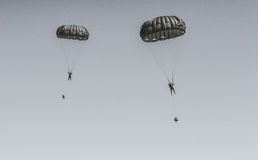 Parachutes in the air show Stock Photo