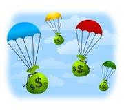 Parachutes de ventis financiers Images stock