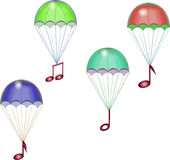 Parachutes with notes Royalty Free Stock Photo
