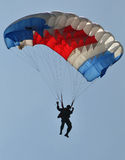 Parachuting attraction to celebrate Indonesian Independence Day Stock Photography
