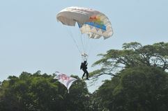 Parachuting attraction to celebrate Indonesian Independence Day Royalty Free Stock Image