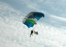 Parachuting - back lit Royalty Free Stock Photography