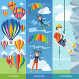 Parachuting, Ballooning and Rock Climbing. Happy peoples plans with parachute. Man doing rock climbing. Colorful hot air balloons flying over the mountain. Icons Stock Image