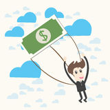 Parachuting Businessman Royalty Free Stock Photos