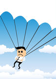 Parachuting Businessman Stock Photo