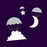 Parachuting Cloud Moon Star Stock Photography