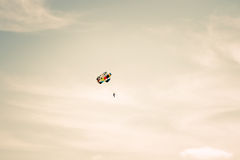 Parachuting extreme Sport with cloudy sky Stock Photography