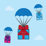 Parachuting Gifts Royalty Free Stock Photos