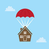 Parachuting House Royalty Free Stock Photography