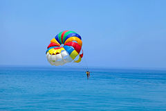Parachuting over a blue sea Stock Images