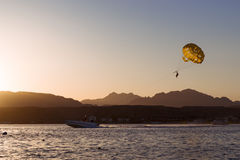 Parachuting over a sea, towing by a boat in Sharm El Sheikh Stock Photo