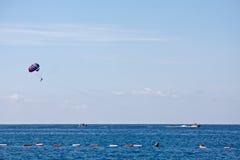 Parachuting at sea Royalty Free Stock Photo