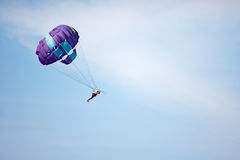 Parachuting at sea Royalty Free Stock Image