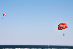 Parachuting at sea Stock Photography