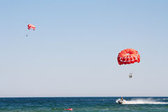 Parachuting at sea Royalty Free Stock Photo
