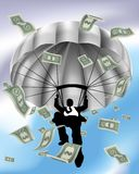 Parachuting Cash Silhouette Business Man