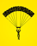 Parachuting silhouette graphic vector Stock Photos