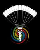 Parachuting silhouette graphic vector Royalty Free Stock Image