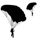 Parachuting. Skydiver, silhouettes parachuting vector illustration Royalty Free Stock Images