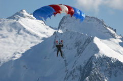 Parachutist. On background of mountain Stock Image