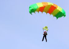 Parachutist. Jumper in the helmet after the jump Stock Image