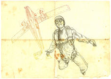 Parachutist. Jumped from a plane, hand drawing, vintage processing Royalty Free Stock Photo