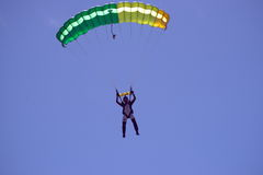 Parachutist in air. Mid-life Crisis?  Sky Divers coming down from an 18,000 foot jump Stock Images