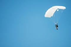 Parachutist in air, Senec, Slovakia. SENEC, SLOVAKIA - MAY 28: parachutist in the air during the celebration of International Children Day on Senec Sunny Lakes Royalty Free Stock Photo