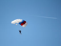 Parachutist and airplane Royalty Free Stock Photography