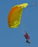 A parachutist approaches Stock Photography