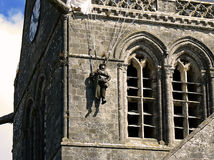 Parachutist in bell tower, Normandy. D-Day Normandy. This american parachutist hit the bell tower of Sainte-Mère Eglise in Normandy in 1944 Royalty Free Stock Photos