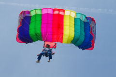 Parachutist demonstrate jumping from airplane Stock Image