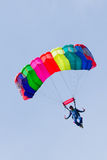 Parachutist demonstrate jumping from airplane Stock Photos