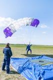 Parachutist door landend punt wordt gemist dat Royalty-vrije Stock Afbeeldingen