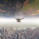 parachutist fall sky landscape Royalty Free Stock Image