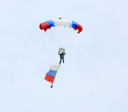 Parachutist with the flag of Russia in Rostov region, Russia. Ap Stock Photography