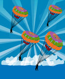 Parachutist glide in the sky. Parachutist glide on sky and clouds background Stock Image