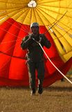 Parachutist on ground