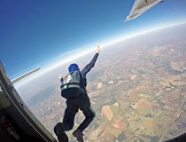 Parachutist jump from the plane. Royalty Free Stock Photography