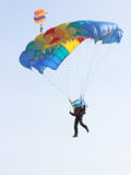 Parachutist Jumper. In the helmet after the jump Royalty Free Stock Images