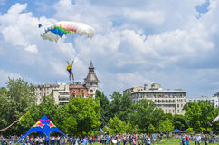 Parachutist in the sky. Parachute jumper preparing to land on a ground surrounded by people at the Red Bull Ordinul Smaranda competition on June 7, 2014 in Royalty Free Stock Images