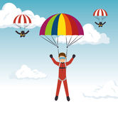 Parachutist man extreme sport Royalty Free Stock Images