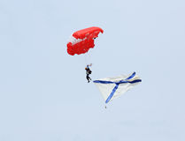 Parachutist with Naval flag of Russia in Rostov region, Russia. Royalty Free Stock Photo
