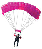 Parachutist with pink parachute. Isolated on  white Stock Images