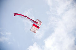 Parachutist with polish flag on Radom Airshow, Poland Stock Image