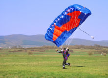 Parachutist running. After landing in a field Royalty Free Stock Photography