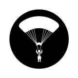 Parachutist silhouette flying icon Royalty Free Stock Photography