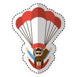 Parachutist silhouette flying icon Stock Photos