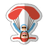 Parachutist silhouette flying icon Royalty Free Stock Photos