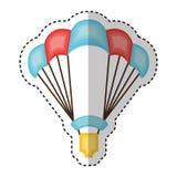 Parachutist silhouette flying icon Stock Image